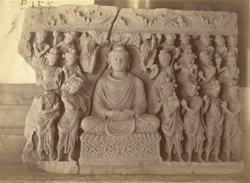 Buddhist sculpture slab excavated at Lorian Tangai, Peshawar District: worship of Buddha
